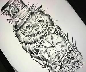 alice in wonderland, cat, and drawing image