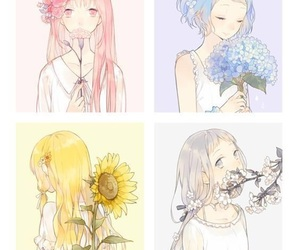 anime girl, blue, and pink image