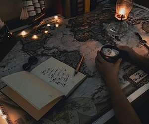 book, map, and light image