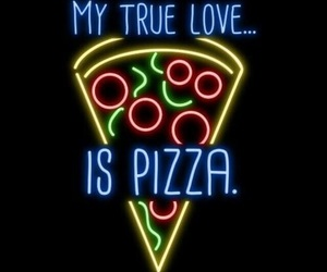 pizza, neon, and wallpaper image