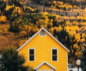 yellow, house, and aesthetic image