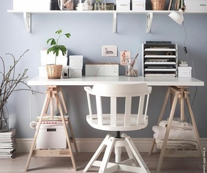 decor, desk, and grey image