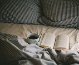 book, bed, and coffee image
