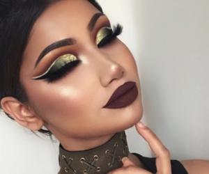 dark lips, makeup, and eyes image