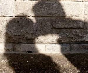 kiss, couple, and shadow image