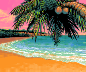beach and pixel image