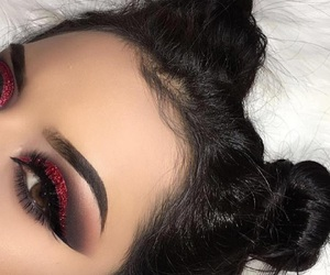 makeup, eyeshadow, and red image