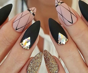 black, nails, and gold image