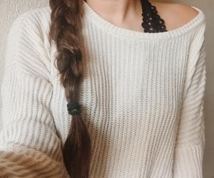 braid, bralette, and brown hair image