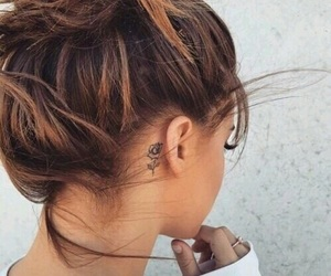 tattoo, hair, and rose image