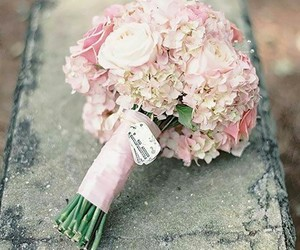 bouquet, hydrangea, and pink image