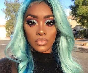 makeup, blue, and hair image