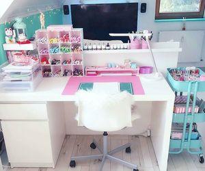 desk, room, and pretty image