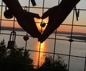 wallpapers, heart, and sunset image