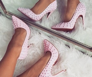 spikes, cute, and pink high heels image