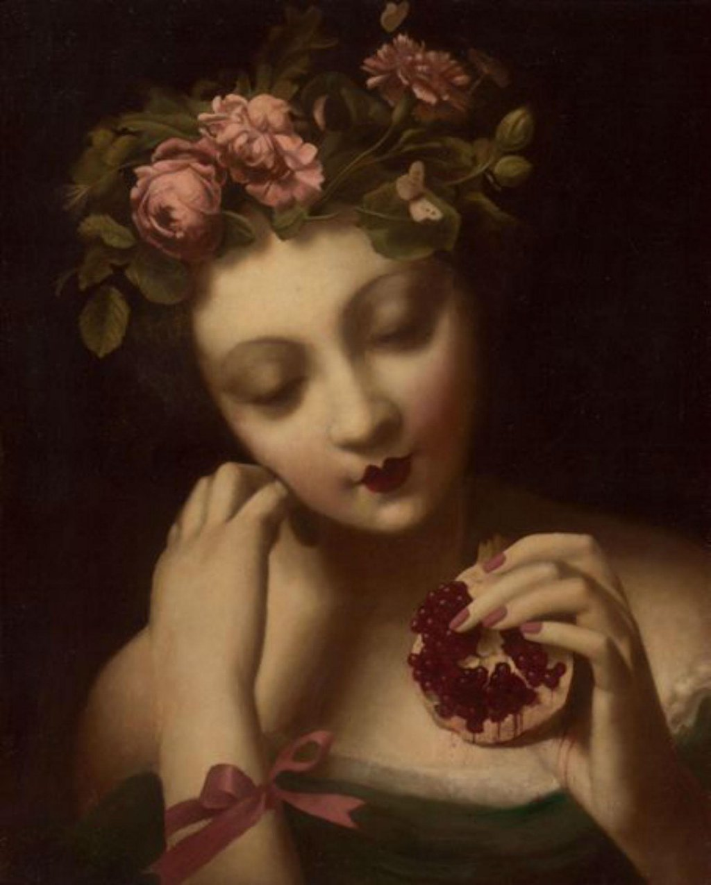 art, pomegranate, and flowers image