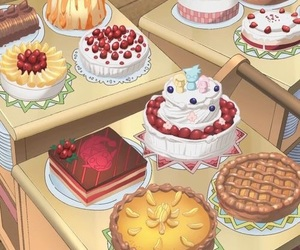 cakes, pie, and strawberry image