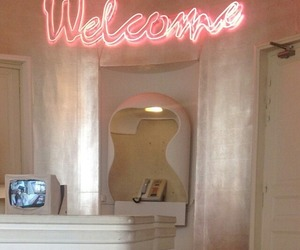 neon signs, pink, and welcome image