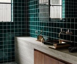 bathroom, green, and mosaic image