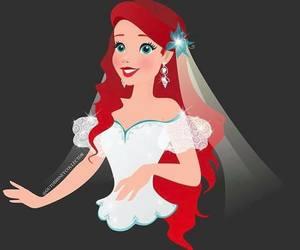 ariel, bride, and disney image