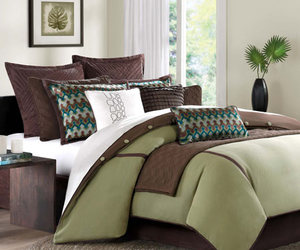 bed, bedding, and decor image