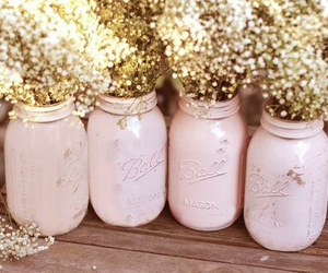 pink, mason jar, and flowers image