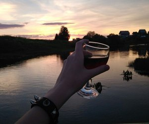 alcohol, sunset, and wine image