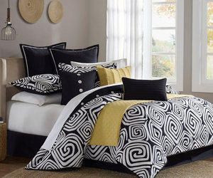 bed, black, and yellow image