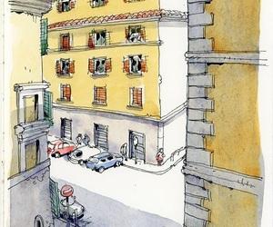 art, Houses, and yellow image