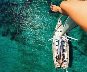 boat, sailboat, and green image