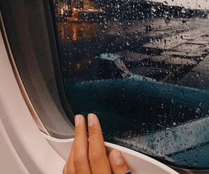 travel, rain, and airplane image