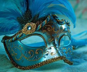 mask, blue, and masquerade image