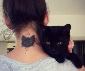 cat, cat tattoo, and girl image