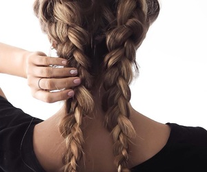 braids, hair, and brunette image