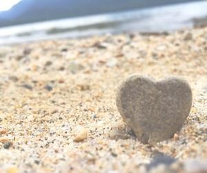 beach, ocean, and heart image
