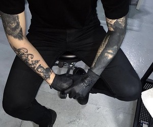 tattoo, boy, and black image
