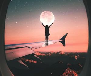 moon, airplane, and sky image