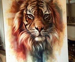 art, painting, and tiger image