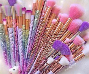 Brushes, unicorn, and makeup image