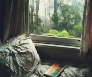 window, bed, and book image