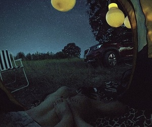 camping, couple, and sky image