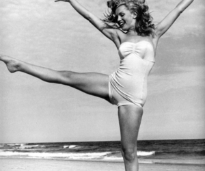beach, black and white, and dance image