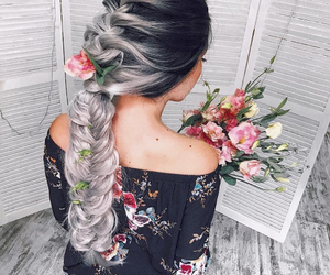 beauty, flowers, and braids image