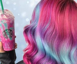 colorful hair, hair, and pink image