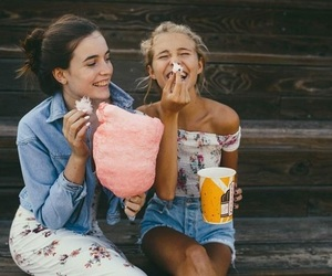 girls, friends, and cotton candy image