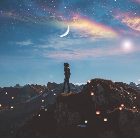 moon, sky, and light image