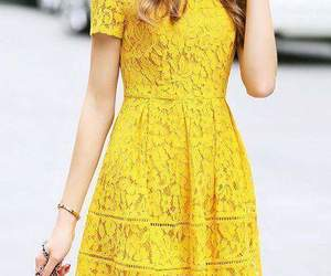 amarillo, dress, and vestido image
