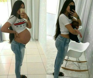 baby, mom, and pregnant image