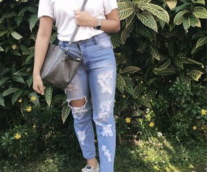 blue, ripped jeans, and ootd image