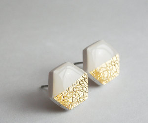 earring, geometric, and gold image